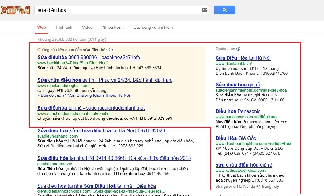 Vị trí hiển thị google adwords